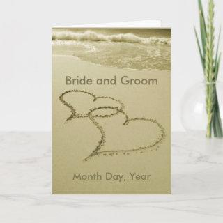 Hearts In The Sand Wedding Announcement