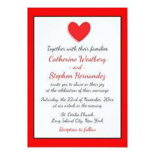 Hearts Wedding Invitations Red, Black & White