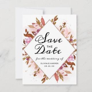 Heirloom Blush Floral Watercolor Save the Date