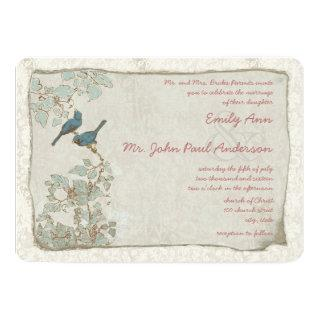 Heirloom Teal Birds Damask Wedding Invitations