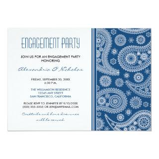 Henna Paisley Engagement Party Invitation (navy)