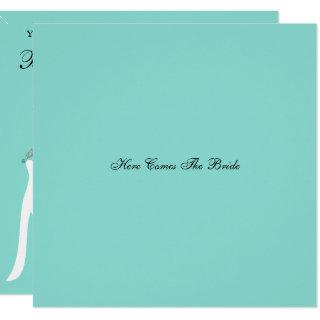 Here Comes The Bride Teal Blue Bride And Party Invitation