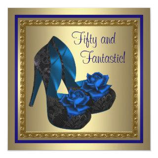 High Heel Shoes Royal Blue Gold Birthday Party Invitation