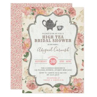 High Tea Bridal Shower Vintage Pink Floral Wedding Invitations