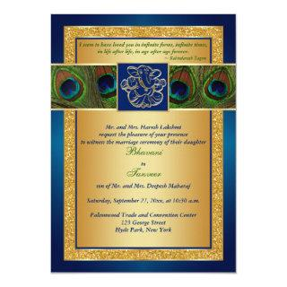 Hindu Ganesh Blue, Gold Peacock Wedding Invite