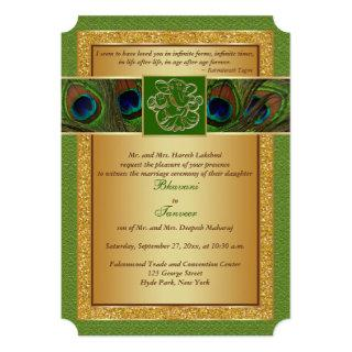 Hindu Ganesh Green, Gold Peacock Wedding Invite