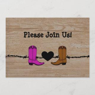 His And Her Cowboy Boots Wedding Invitation