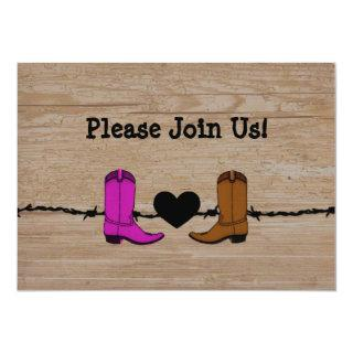 His And Her Cowboy Boots Wedding Invitations