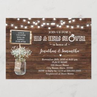 His and hers wedding shower rustic barn Invitations