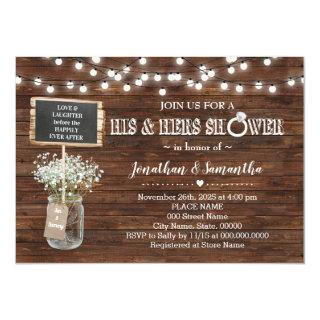 His and hers wedding shower rustic barn invitation