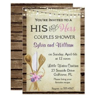 His & Hers Couples Rustic Bridal Shower Invitations