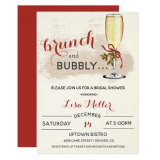 Holiday Christmas Brunch and Bubbly Bridal Shower Invitation
