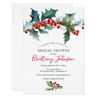 Holiday Holly Bridal Shower Invitation