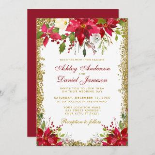 Holiday Wedding Floral Red Poinsettia Gold Glitter