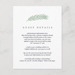 Holly and Pine Guest Information Enclosure Card
