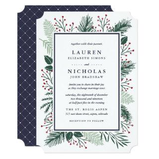 Holly and Pine Wedding Invitation