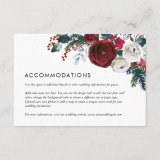 Holly and Pine Winter Wedding Details Insert Card