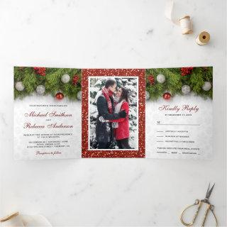 Holly Berry and Pine Leaves Christmas Wedding Tri-Fold