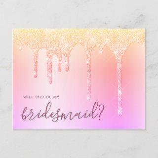 Holographic drips will you be my bridesmaid invitation postcard