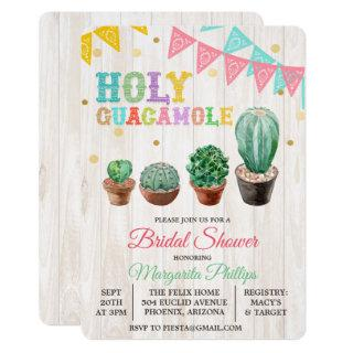 Holy Guacamole Cactus Bridal Shower Invitations