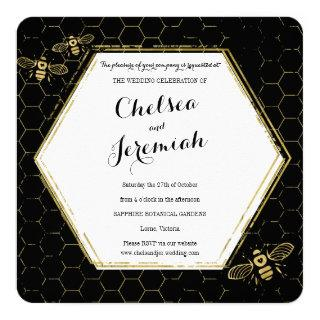 Honey Bee Black Gold Custom Wedding Invitation