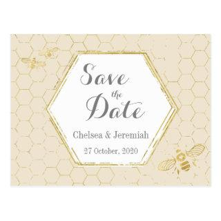 Honey Bee Cream Gold Pattern Save the Date Postcard