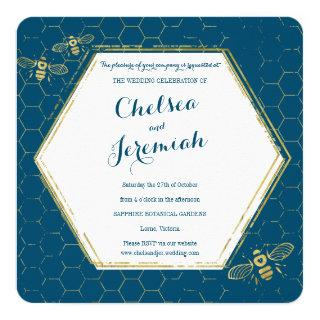 Honey Bee Teal Gold Custom Wedding Invitation