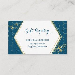 Honey Bee Teal Gold Gift Registry Card