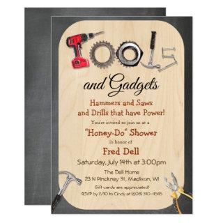 Honey Do Couples Shower Chalk Wood Invitation