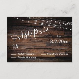 Horizontal Rustic Wood & Light Strings Event RSVP