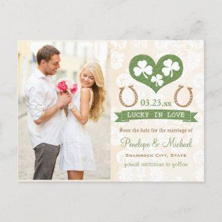 Horseshoe and Shamrock Save the Date Announcement Postcard