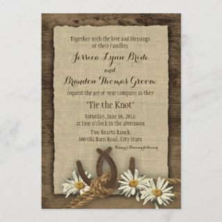 Horseshoes and Daisies Rustic Burlap Invitations
