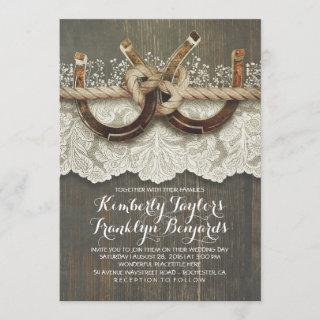 Horseshoes Lace Wood Baby's Breath Rustic Wedding Invitations