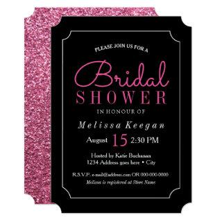 Hot Pink and Black Bridal Shower Invitations