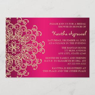 Hot Pink and Gold Indian Inspired Bridal Shower Invitations
