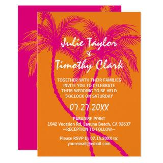 Hot Pink and Orange Wedding Invitations