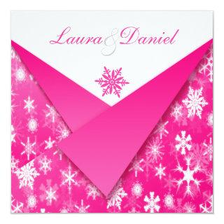 Hot Pink and White Snowflakes Wedding Invitations