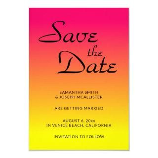 Hot Pink Coral and Yellow Ombre Save the Date Invitation