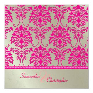 Hot pink damask/faux silver wedding Invitations
