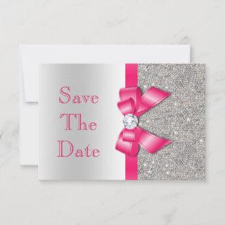 Hot Pink Faux Bow & Diamonds Save The Date