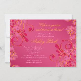 Hot Pink Floral Wedding Bridal Shower Invitation