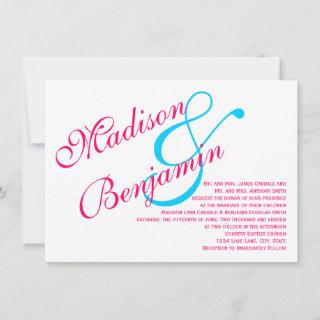 Hot Pink Fuchsia Teal Turquoise Wedding Invitations