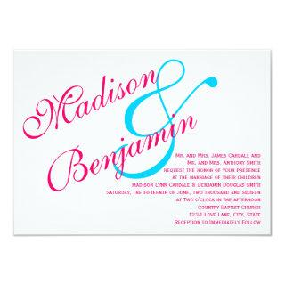 Hot Pink Fuchsia Teal Turquoise Wedding Invitation