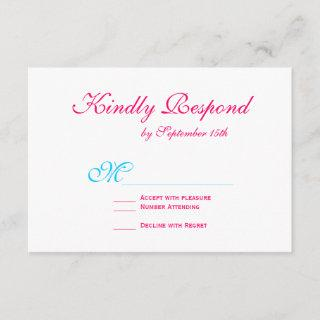 Hot Pink Fuchsia Teal Turquoise Wedding RSVP Cards