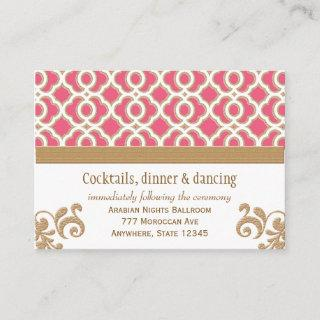 Hot Pink Gold Moroccan Reception Enclosure Card