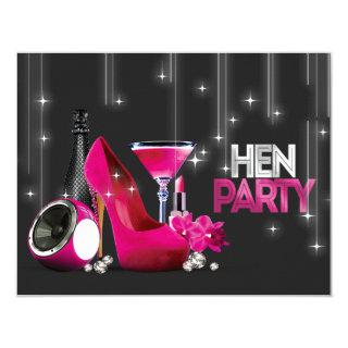 Hot Pink High Heel Champagne Black Hen Party Invitations