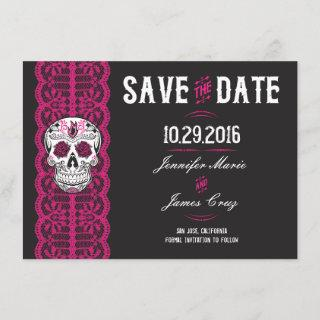 "Hot Pink Lace Sugar Skull Save the Dates 4.5x6.25"" Save The Date"