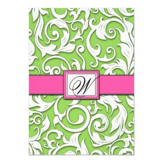Hot Pink & Lime Green Damask Wedding Invitations