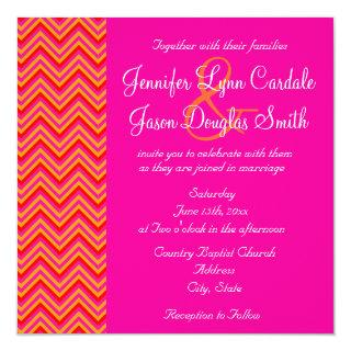 Hot Pink Orange Chevron Wedding Invitations