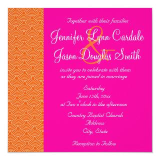 Hot Pink Orange Scallops Design Wedding Invitation